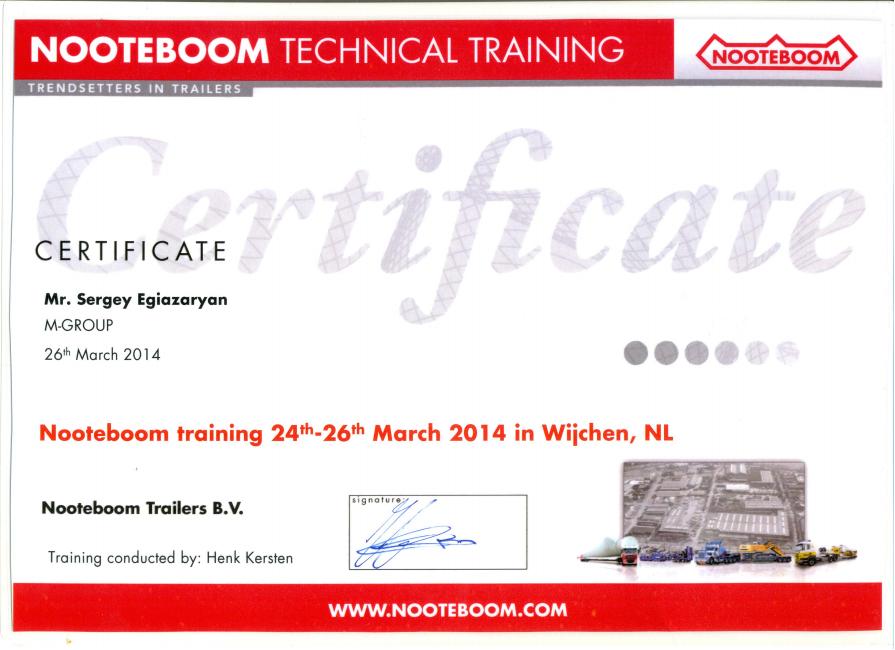 Сертификат обучения Генерального директора Егиазаряна С.Б. в Голландии на заводе Nooteboom